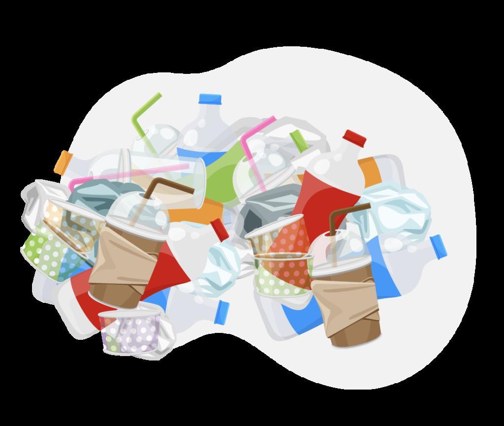 illustration déchets en plastique